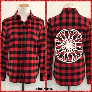 SoulCycle Wheel Red Black Check Pocket Flannel S